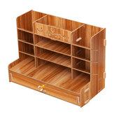 صندوق تخزين خشبي ملف حامل مكتب القلم كتاب سطح المكتب صندوق تخزين منظم مع درج حاوية ثابتة