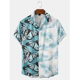 メンズバタフライプリントパッチワークプラントプリントラペル半袖シャツ