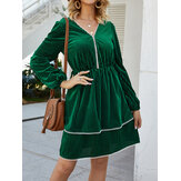 Elegant Solid Color Drawstring Waist Causal Dress