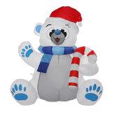 1.2M LED Giocattolo dell'orso gonfiabile resistente ai raggi UV del soffiatore incorporato del poliestere impermeabile di Natale per il regalo del partito della decorazione di Natale