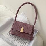 Frauen PU Leder einfarbig Alligator Muster elegante lässige Einkaufstasche Umhängetasche Handtasche