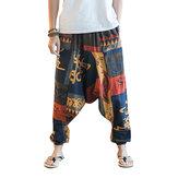 Men's Casual Ethnic Style Printed Cotton Haren Pants