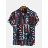 Mens Ethnic Style Pattern Printing Short Sleeve Casual Shirts