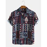 Estilo étnico para hombre Patrón Impresión de camisas casuales de manga corta