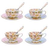 3pcs/setmodebritanniquebone porcelaine tasse de café soucoupe cuillère pour bureau à domicile