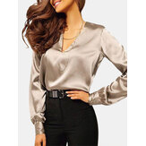 Women Solid Color V Neck Long Sleeve Blouse