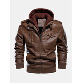 Mens Hooded Zipper Pocket Washing PU Leather Jackets