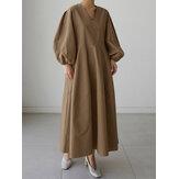 Cepli Kadınlar Katı V Yaka Puf Kol Gevşek Düz Casual Maxi Elbise