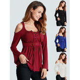 Sexy Women Long Sleeve V-Necklace Up Cold-Shoulder Blouses