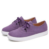 Women Solid Color Suede Comfy Wearable Casual Flat Shoes
