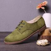 LOSTISY Zapatos planos formales ocasionales con cordones de gamuza