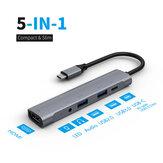 Adaptador de HUB de estação de acoplamento Bakeey 5 em 1 USB Type-C com transmissão de dados USB-C / entrada de áudio USB 3.0 / USB 2.0 / 3.5 mm / 4K HDMI para PC laptop