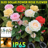 Outdoor LED Solar Rose Flower Light Waterproof Garden Lawn Lamp Landscape Lighting Yard Decoration
