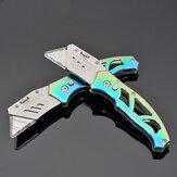 Faca dobrável XANES® 150/160 mm SK5 Blade Colorful Faca de arte trapezoidal externa de liga de titânio com lâmina de reposição de 10 unidades