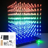 Versione aggiornata DIY WIFI APP 8x8x8 3D Light Cube Kit Red Blue Green LED Spectrum musicale MP3