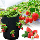 10 Gallons Strawberry Planting Bag 43L 8 Pockets Planting Pouch Fabric Pots for Strawberry Tomato Carrot Vegetables Container with Handles