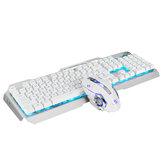 Wired 104 Keys Mechanical Keyboard & Mouse Set Ice Blue White Backlit Multifunction Knob Gaming Keyboard Ergonomic Mouse