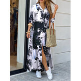 Tie-Dyed Graffiti Print Long Sleeve Irregular Hem Loose Maxi Shirts Dress with Side Pockets