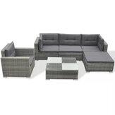 KCASA 6 / 8Pcs Серый набор из ротанга Роскошные диваны Съемная удобная мебель На открытом воздухе Сад / Гостиная Lounge