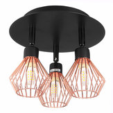 3 Way Ceiling light Modern G9 Copper Cage industrial Pendant Lamp Shade Spotlight Home Decorations