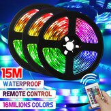 49FT 15M 3528 RGB LED Tira de luz 24 teclas Control remoto no impermeable / Impermeable flexible Lámpara + UE / US adaptador de corriente