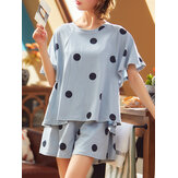 Mulheres Polka Dot Imprimir em torno do pescoço Shorts de manga curta Conjuntos de pijama ocasionais