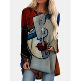 Kvinder Vintage abstrakt figur trykt O-hals uregelmæssig hem langærmet bluse