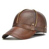 Berretto da baseball da uomo Vera Pelle caldo con lembi delle orecchie Cappello vintage ispessito regolabile