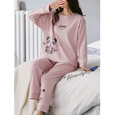 Women Cartoon animal Print Rib Long Sleeve Elastic Waist Pajama Set With Pocket