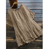 100% Cotton Round Neck Simple And Comfortable Lace Stitching Blouse