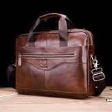 Bullcaptain Men Genuine Leather Vinatge Handbag Business Bag
