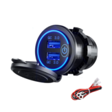 12-24V QC 3.0 Fast Dual USB Charger Touch Switch Waterproof Accessory For Motorcycle Car Truck Boat