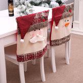 クリスマスのキッチンディナーチェアのためのサンタクロース刺繍チェアのバックカバーデコレーション