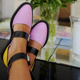 Frauen Colorblock Slip Resistant Buckle Stylish Flats