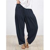 Plis en coton de couleur unie pour femmes, taille élastique, cordon de serrage, pantalon ample