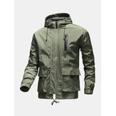 Mens Letter Back Print Zip Front Loose Drawstring Hooded Waterproof Outdoors Jackets