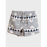 Mens Tribal Pattern Print Drawstring Waist Loose Thin Holiday Beach Board Shorts