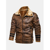 Mens Faux Fur Badge Zip Front Lapel Collar Relaxed Fit Thicken Jackets