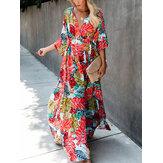 女性のカジュアルな多色花柄分割裾Vネックボヘミアンハーフスリーブマキシドレス