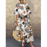 Floral Print O-neck Half Sleeve Summer Casual Long Maxi Dress