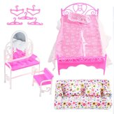 DIY Plastic Doll House Kids Development Toys Furniture Living Room Sofa Bed Dressing Table Hanger Set