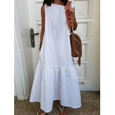 Women Sleeveless O-neck Cotton Solid Maxi Dress