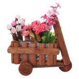Pequeno carrinho para flores e carrinho de mão de madeira para carrinho de mão e ornamento de recipiente suculento