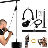 9 Pcs/Set Fitness Pulley System LAT Lift Pull-Down Machine for Biceps Curl Back Shoulder Forearm Triceps Extensions Workout Loading 300lbs