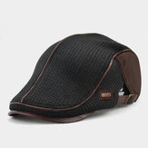 Banggood Design Men Knit Leather Patchwork Color Casual Personality Forward Hat Beret Hat