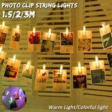 رومانسية 5/10/20/30 LED 1.5 / 2/3M LED صور كليب سلسلة ضوء مقاطع صور لعيد الميلاد الزفاف النوم ديكور غرفة النوم