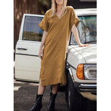 Women Casual Solid Color V-neck Holiday Beach Short Sleeve Maxi Dress