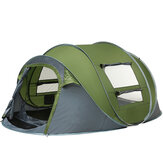 3-4 / 5-8人用キャンプテント両開きドア通気性自動ファミリーテント防水サンシェードキャノピー屋外ハイキングビーチ