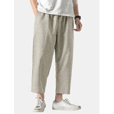 Mens Solid Color Elastic Waist Drawstring Casual Pants
