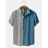 Camicie da uomo manica corta colletto rovesciato a righe patchwork